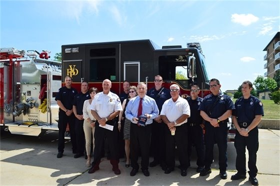 U.S. Senator Dick Durbin visited Villa Park Fire Station 81 Aug. 7, 2015.