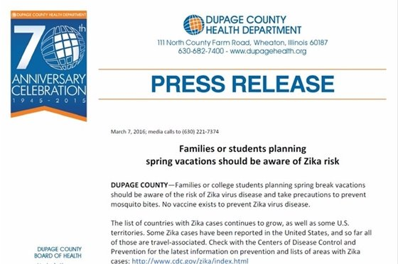 DuPage County Health Dept. Zika travel info