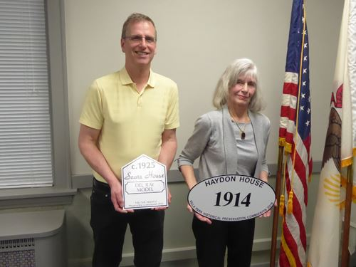 John Pawlak, pictured with Carol Marcus, chair of the Historical Preservation Commission