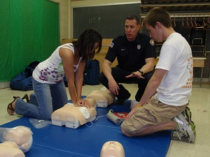 Students Practicing in CPR Class