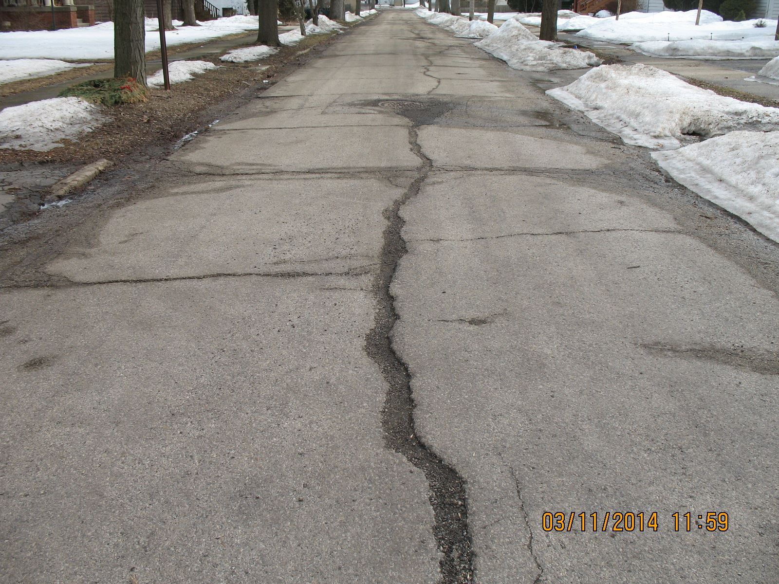 Street with Cracks in the Winter