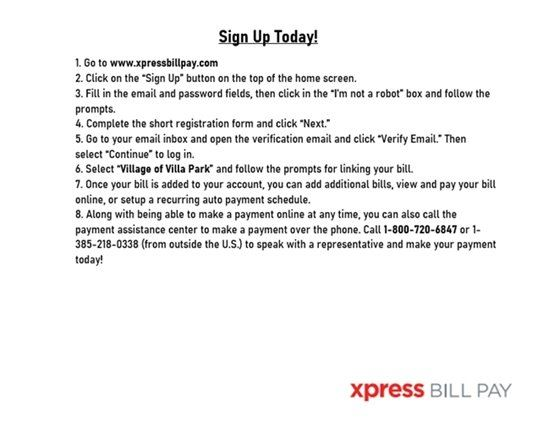 Instructions for Xpress Bill Pay